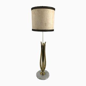 Lampada da tavolo in marmo ed ottone, anni '50