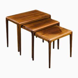 Tables Gigognes en Palissandre par Johannes Andersen pour CFC Silkeborg, 1960s, Set de 3