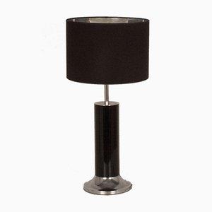 Große Spanische Tischlampe aus Chrom und schwarz emailliertem Metall