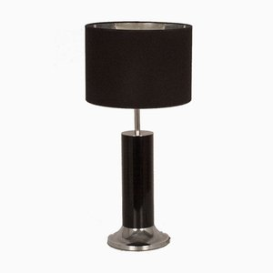 Large Spanish Table Lamp in Chrome and Black Enamelled Metal