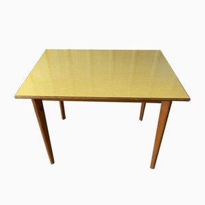 Mesa de comedor británica Mid-Century de formica amarilla