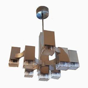 Lustre Cubique Mid-Century à 9 Lampes par Gaetano Sciolari pour Sciolari