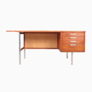 Dänischer Mid-Century Schreibtisch aus Teak & Schilfrohr, 1950er