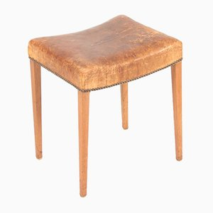 Patinated Leather and Oak Stool, 1950s