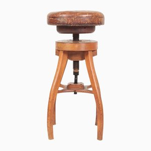 Adjustable Artist's Stool in Oak and Patinated Leather, 1930s