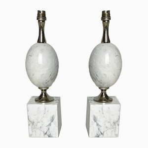 Egg-Shaped Table Lamp in White Carrara Marble by Philippe Barbier, 1960s, Set of 2