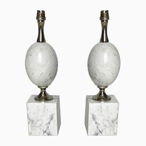 Lampada da tavolo a forma di uovo in marmo bianco di Carrara di Philippe Barbier, anni '60, set di 2