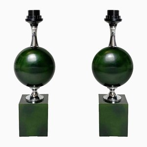 Mid-Century Table Lamps in Green Lacquered Steel by Philippe Barbier, 1960s, Set of 2