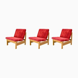 Sofas in Red Rib Fabric and Oak by Aksel Dahl for KP Møbler, 1970s, Set of 3