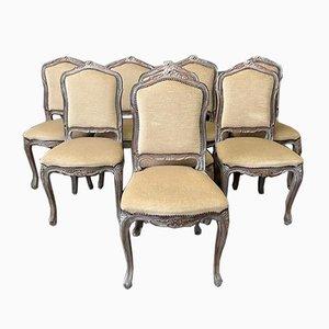 Französische Esszimmerstühle, 1930er, 8er Set