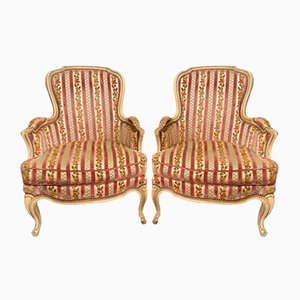 French Bergere Upholstered Armchairs, 1920s, Set of 2
