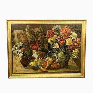 Grande olio su tela, natura morta con fiori, frutta e libro aperto