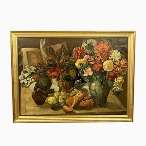 Large Oil on Canvas, Still Life with Flowers, Fruit and Open Book