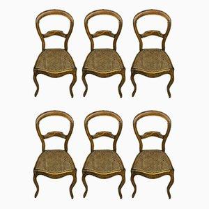 Chaises de Salon en Noyer avec Assises en Rotin, 1830s, Set de 6