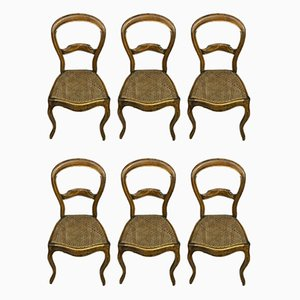 Walnut Dining Chairs with Cane Seats, 1830s, Set of 6
