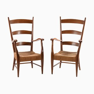 Mid-Century Italian Armchairs by Gugliemo Pecorini, Set of 2