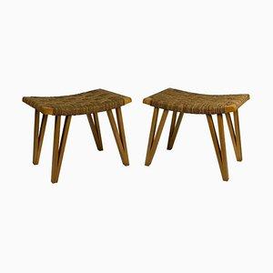 Sgabelli Mid-Century con seduta in paglia intrecciata di Pecorini Firenze, set di 2