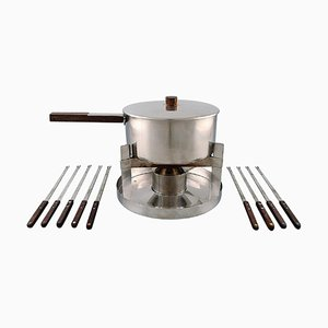 Cylinda Line Fondue Set in Stainless Steel and Teak by Arne Jacobsen for Stelton, Set of 11
