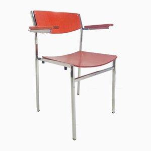 Vintage Red Plywood Chair by Gijs Van Der Sluis, Set of 4