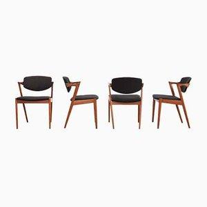 Teak Model 42 Chairs, Set of 4