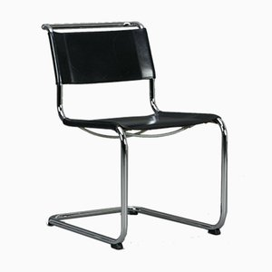 Thonet S33 Cantilever Black Leather Chair