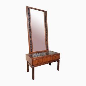 Cajonera danesa Mid-Century de palisandro con espejo