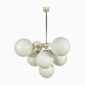 Large Mid-Century White Chandelier from Kaiser, 1960s, Germany