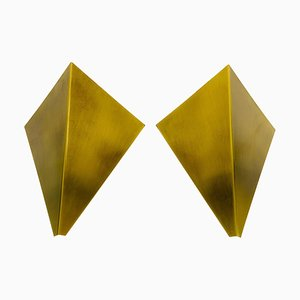 Triangle Brass Sconces from Bankamp Leuchten, Germany, 1960s, Set of 2