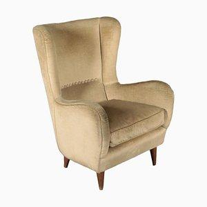 Italian Velvet Armchair, 1950s