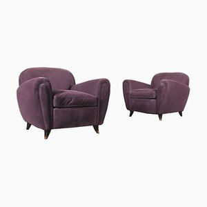 Wood and Velvet Armchairs, Italy, 1940s, Set of 2