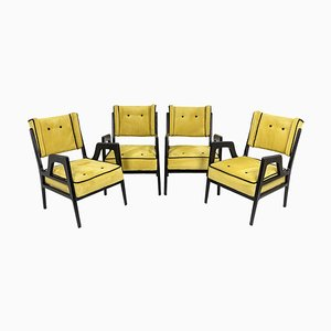 Wing Chairs in Lacquered Wood, 1950s, Set of 4