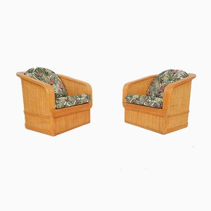Bamboo & Rattan Lounge Chairs, 1960s, Set of 2