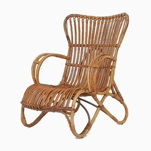 Mid-Century Rattan Lounge Chair, The Netherlands, 1950s