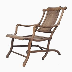 19th-Century Chinese Moon Gazer Lounge Chair In Solid Wood