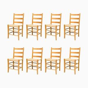 Oregon Pine Ladder Back Chairs, Set of 8