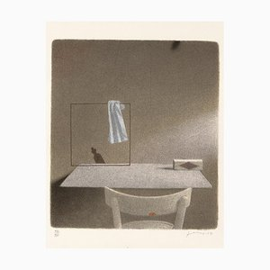 Lithographie de Gianfranco Ferroni - Chaise et Carré avec un Rag - 1991