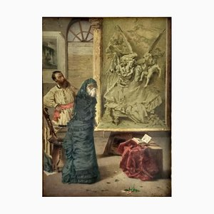 Giuseppe Puricelli Guerra - Untitled - interior - Original Oil Painting - 1860