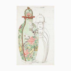 Lampe Inconnue - Porcelaine - Encre de Chine Original et Aquarelle - Fin 19ème Siècle