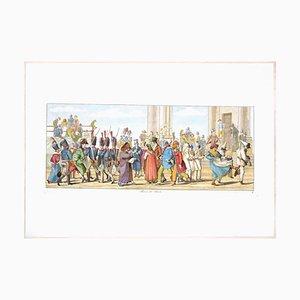 Acquaforte originale di Carl Gustaf Hyalmar Morner - Roma, Piazza Del Popolo - 1820