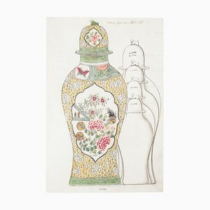 Unknown - Porzellan Vase - Original Tinte und Aquarell aus China - 1890er