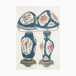 Unknown - Vase en Porcelaine - Original China ink and Watercolor - 1890s