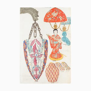 Unknown - Lamp - Original China ink and Watercolor - Late 19th Century