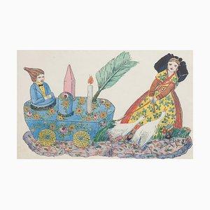 Inconnu - Porte-stylos et encrier en Porcelaine - Encre et Aquarelle de Chine Original - 1890s