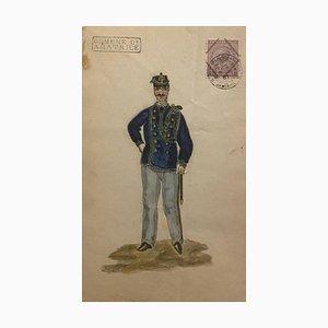 Inconnu - Figurine de l'uniforme - Aquarelle sur papier originale - 1881