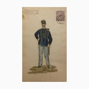 Unknown - Figurine of the Uniform - Original Watercolor on Paper - 1881