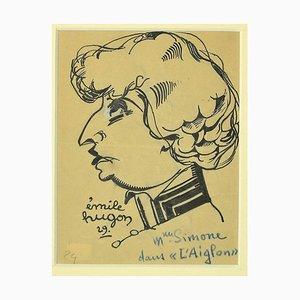 Emile Hugon - L'Ainglon - Original Feder auf Papier - 1929