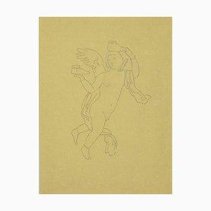 Inconnu - l'Ange sans Chaussures - Dessin au Plume Original sur Papier - 1850s