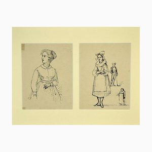 Gobaut Gaspard - Studies of Figures - Original Pen on Paper - 1850s
