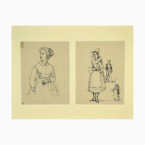 Gobaut Gaspard - Studies of Figures - Original Pen sur Papier - 1850s