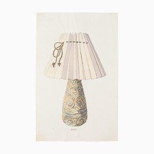 Inconnu - Lampe - Encre de Chine Original et Aquarelle - Fin 19ème Siècle
